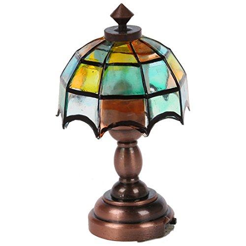 RETYLY Bronze Metall 1:12 Puppenhause Miniatur LED Schreibtischleuchte Modell mit Multicolor Regenschirm Form Lampenschirm