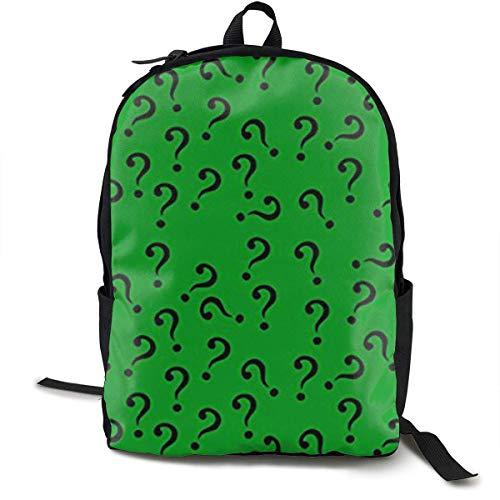 DFIDAS Rucksack Schultasche Question Mark in Green Classic Backpack - Black