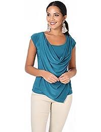 KRISP® Women Cowl Neck Tops Tie Back Blouse Pleated Tunic