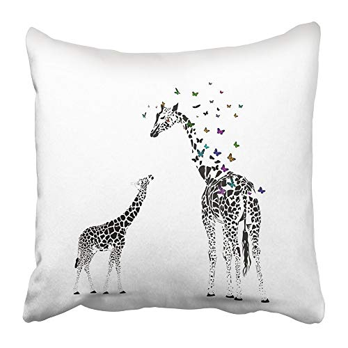 Throw Pillow Covers Print Black African Silhouette of Giraffe with Her Baby Butterflies Safari Africa Animal Cartoon Graphic Polyester 18 X 18 Inch Square Hidden Zipper Decorative Pillowcase