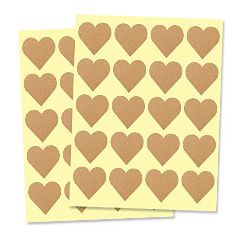 2,5cm Corazón Kraft Pegatinas Adhesivas Marrón -