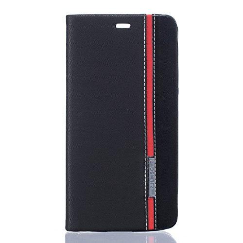 Elephone P8000 Hülle, PU Leder Handyhülle Flip Geldbörse Anti-kratzer Schutzhülle Geldbeutel Schutz Stoßfest Hülle mit Kartenfächer Bookstyle Wallet Case (Schwarz + Rot)