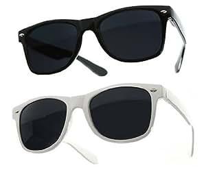 Lot de 2 Paires de lunettes de soleil style Wayfarer - Geek Retro Vintage 80's - Monture Coloris Noir + Blanc - Verres Noirs - Fashion Tendance
