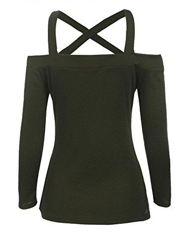 Zeela Damen Schulterfrei Langarm Sweatshirt Carmenshirt Oberteil Tops Shirts Armeegrün