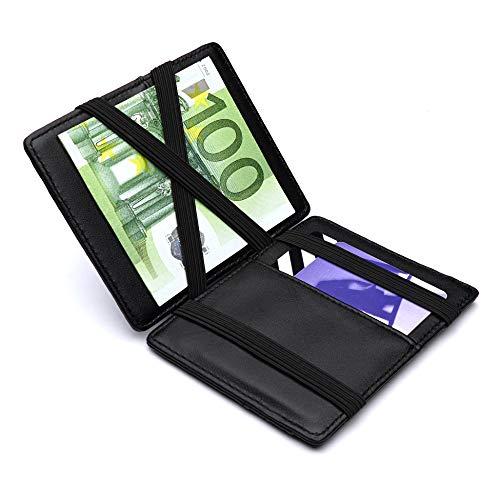 Design Magic Wallet Geldbörse mit Münzfach und RFID/NFC Schutz - Premium Herren Portemonnaie mit Magic-Flip Funktion - Geldklammer mit Kleingeldfach - Kleiner schlanker Geldbeutel in Schwarz