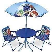 Arditex pyjamasques Conjunto de jardín/Mesa Redonda/sombrilla y 2 sillas, Tela,