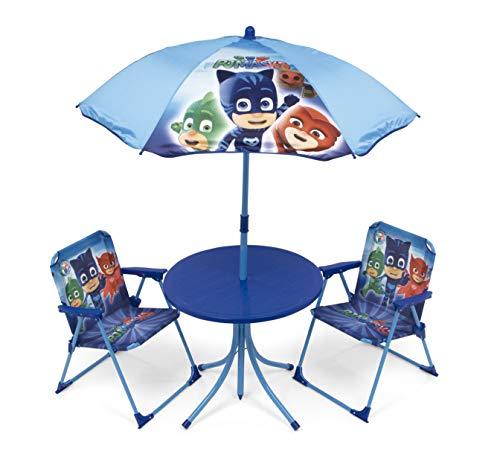 Arditex pyjamasques Set Garten/Tisch rund/Sonnenschirm und 2Stühle, Stoff, blau, 72.5x 10,5x...