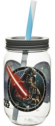 Star Wars tarro de Mason vaso con pajita (Tritan plástico por Zak Darth Vader Boba Fett y Storm Trooper