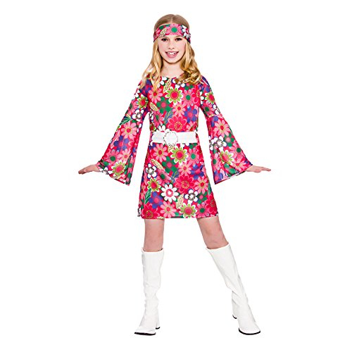 Retro girls go up girl costume party halloween fancy dress costume '60 per bambino 5-7 anni