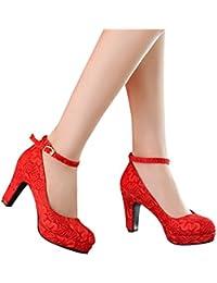 ALUK- Zapatos de novia - zapatos de boda rojo tacones altos con encaje grueso en los zapatos de la boda (con 8 cm de alto) ( Color : Rojo , Tamaño : 39 )