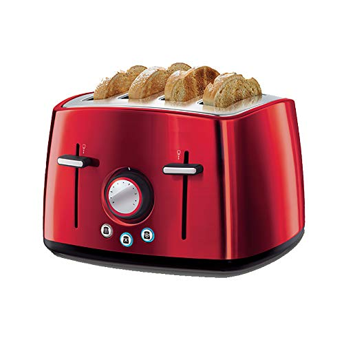 AMY Toaster 4 Slices Wide Slot, Retro Toaster Mit 6 Variablen Browning Control Brotbackautomat - Abnehmbares Krümelblech,Rot