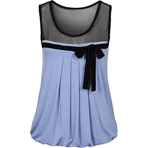 ESAILQ Damen Braun Blusenshirt Baumwolle Henley Baumwollshirt Lang Grau Altrosa Stehkragen Viskose em Pinkes Rot Blau Langarm schöne t Shirts(XXL,Blau)