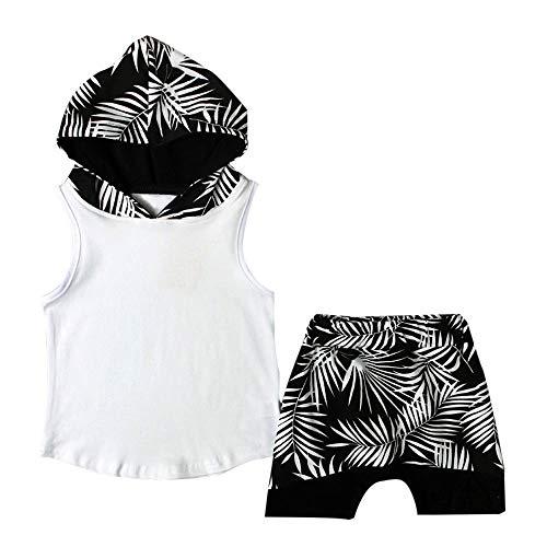 ekleidungsset,Säuglingsbaby verlässt mit Kapuze T-Shirt Tops Shorts Hosen Kleidung Outfits Set,Frühlings und Sommeranzug,Jungenbekleidung,Zweiteiliges Set ()