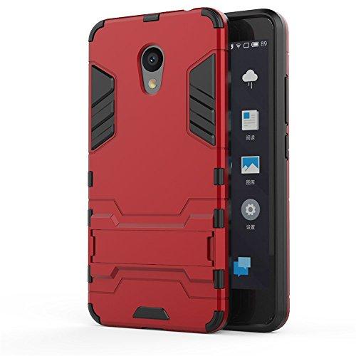Meizu M5C Hülle, SMTR 2 in 1 Ultra Slim Silikon Rückseite Schutzhülle, mit Standfunktion & Advanced Shock Absorption Technology hülle für Meizu M5C , Rote