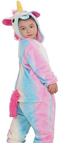 EmilyLe-Fille-Pyjama-Polaire-Peignoire-Kigurumi-Onesie-Licorne-Multicolore-Effet-3D-Dguisement-Halloween-Unicorn-Arc-en-ciel