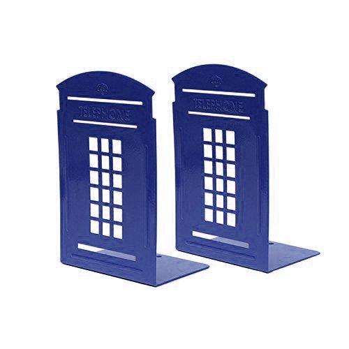 Buchstützen Buch, ein paar Vintage-Mode britischen Stil London Telefonzelle Kiosk Verdickung Eisen Bibliothek Schule Office Home Studie Metall (blau) Bc Bücherregal
