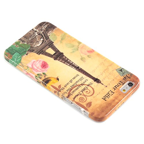 "deinPhone Apple iPhone 6 6S Plus (5.5"") KUNSTLEDER FLIP CASE Hülle Tasche Eulen Happy Family Eiffelturm Rosa Blume"