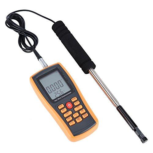 LCD-Anemometer, tragbares digitales Heißdraht-Windgeschwindigkeits-Temperaturmessgerät mit Hintergrundbeleuchtung
