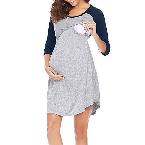 YOYOGO Vestido Fiesta Mujer Premium Vestido De Maternidad para Mujeres Ropa De Dormir Camisa De Dormir Lactancia Nocturna Camisón Armada Medium