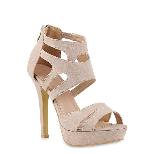 Stiefelparadies Damen Sandaletten Plateau Sandaletten Strass Stiletto Cut-Outs Party High Heels Lack Party Leder-Optik Schuhe 121438 Creme 35 Flandell