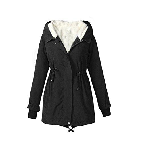 Vovotrade ❀❀Damen mit Kapuze Parka Fleece Top Größe M-XXXXXL Winter Warm Damen lange Jacke Mantel (EU Size:46(XXXXL), Schwarz)