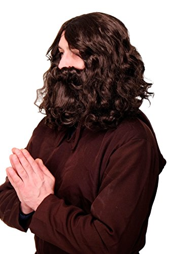 Kostüm Party Indien Ideen - WIG ME UP - Perücke Bart Vollbart Fasching Karneval Prophet Guru Jesus Hipster Waldschrat Urmensch braun WIG005-HK5
