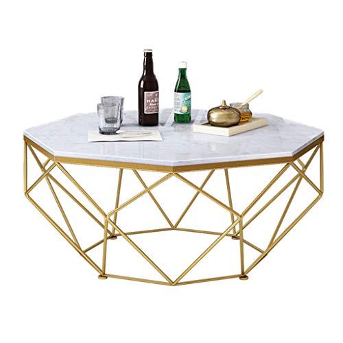 WXiaJ-Kaffetisch Schmiedeeiserner Couchtisch, großer Marmortisch, massiver Metallrahmen, stilvolle Einfachheit, konzipiert für Moderne Wohnhotels, Gold, Octagon, mehrere verfügbare Größen