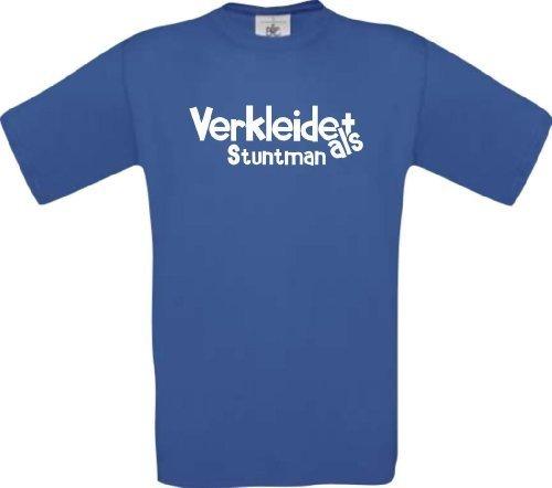 ShirtInStyle T-Shirt Verkleidet als Stuntman Karneval Fasching Kostüm Verkleidung, Farbe royal, Größe (Kostüm Stuntman)