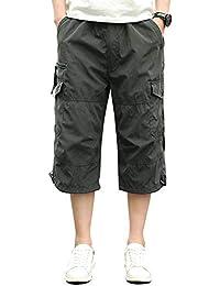 Homme Shorts Cargo Pantacourt Coton Multi Poches Loisirs 3/4 Short Casual Eté