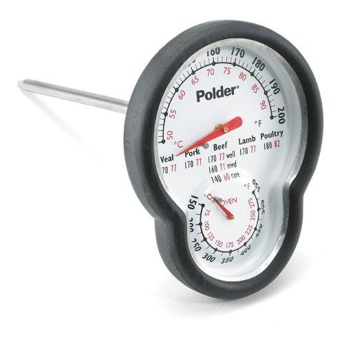 Polder Digitales Ofenthermometer, Dual Sensor, Ofen Thermometer, schwarz (Schwarze Tür-monitor-sensor)
