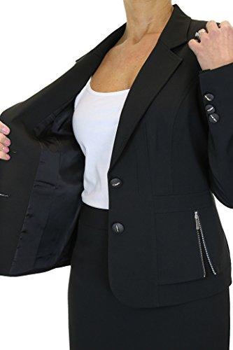 ICE Donne Gonna Completo Affari Ufficio Tailored Blazer Nero
