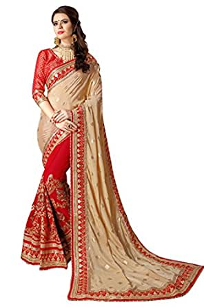 Magneitta Women's Crepe Chiffon Saree with Blouse Piece (97034_Red_Free Size)