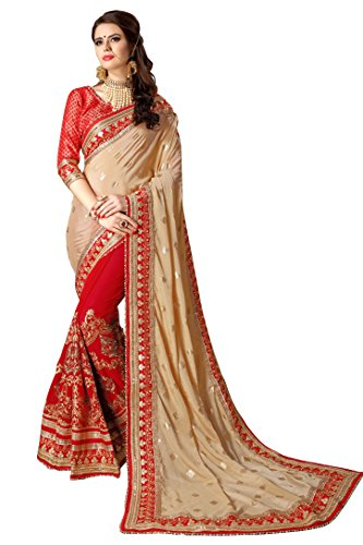 Magneitta Crepe Chiffon Saree With Blouse Piece (97034_Red_Free Size)
