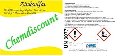 1 kg Zinksulfat ZnSO4 Zinkvitriol (-Heptahydrat) von WHC WasserHygieneChemie GmbH - Du und dein Garten