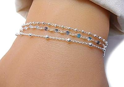 Lot bracelets - Argent - Bracelets multiples - 3 bracelets femme - Bracelets fins minimalistes - Cadeau pour elle