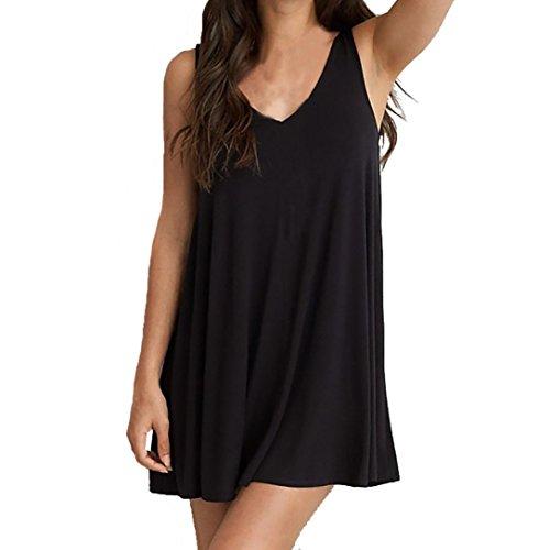 robe femme, Transer ® Femmes été sans manches Plus taille lâche O-cou Casual couleur unie Backless robe (S-6XL) Noir