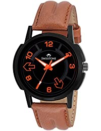 Swisstone REBL059-BLK Tan Leather Strap Analog Wrist Watch For Men