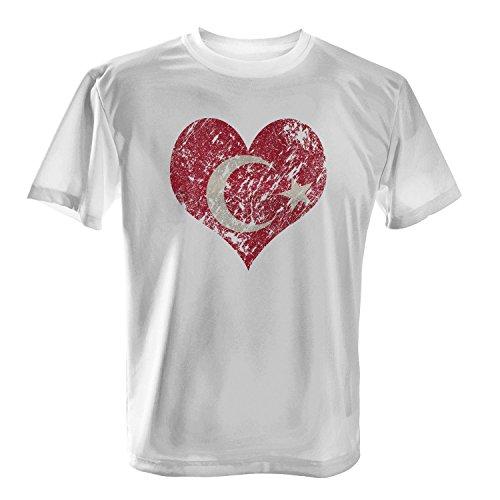 Fashionalarm Herren T-Shirt - I Love Turkey | Fun Shirt Trikot mit Vintage Flagge Print für Fußball & Türkei Fans | Türkiye Urlaub | EM & WM Weiß