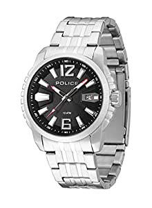 Police Survivor Men's Quartz Watch with Black Dial Analogue Display and Silver Stainless Steel Bracelet 13896JS/02M