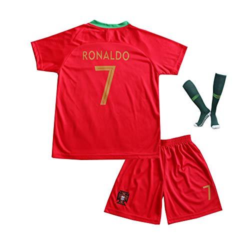 BTA APPAREL 2018/2019 Portugal #7 Cristiano Ronaldo Heim Kinder Fußball Trikot Hose und Socken Kindergrößen (8-10 Jahre)