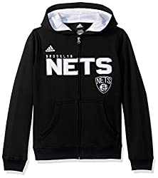 NBA Brand NBA Youth 8-20 BROOKLYN Nets Stated Full Zip Hoodie, M(10-12), Cool Grey