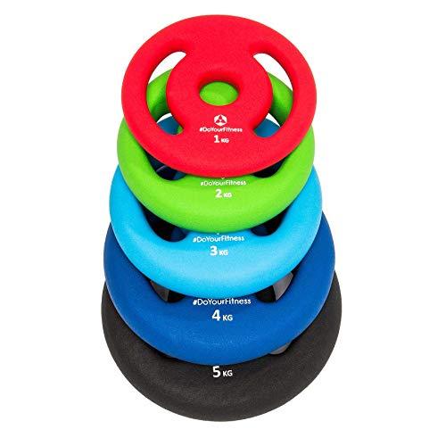 #DoYourFitness 2X Hantelscheiben aus 100% Gusseisen in 1kg 2kg 3kg 4kg 5kg / Farblich codiert je nach Gewichtsklasse/ 30/31mm Bohrung mit bunten Neoprenüberzug zur Dämpfung 5kg / schwarz