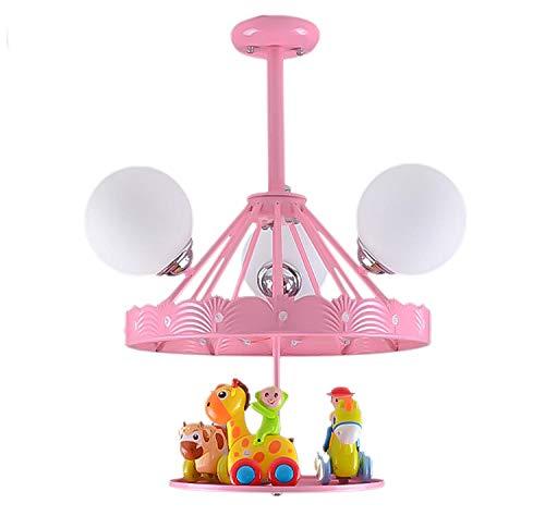 Deckenleuchten Für Kinder Kinderzimmer Deckenlampe Mädchen Jungen Schlafzimmer,E24E14 Moderne Europäische Kreative Cartoon Karussell Kronleuchter,Rosa 55X60Cm (Keine Glühbirne) -