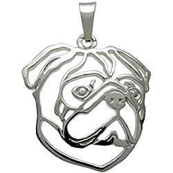 Colgante para cuello de plata, H&H JEWELLERY Pug