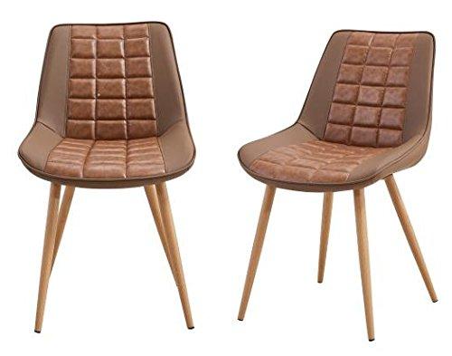Folkbury Nordic Style 2Stühle Set Esszimmer skandinavischen Stühle aus Metall Stühle für Esszimmer Wohnzimmer Küche braun -