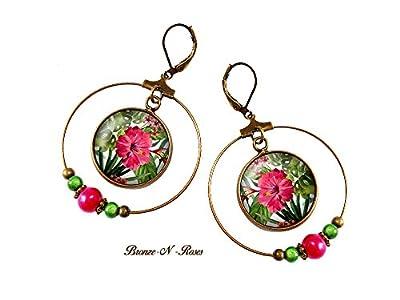 boucles d'oreille créoles fleurs tropicales pendants rose vert cabochon cadeau