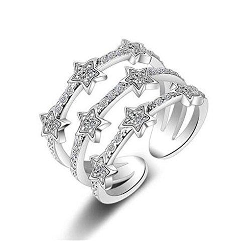 Wunhope Damen Ringe 925er Sterling Silber drei Linien Sterne mit Bling Zirkonia Ringöffnung Verstellbar Ehering Drei Diamant-verlobungsring