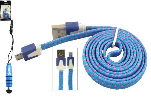 Emartbuy® Geflochten Flaches Duo Packfür Mobistel Cynus E8 5 Zoll Smartphone - Blau Mini Eingabestift + Geflochten Blau/Rosa Flaches Micro USB Sync/Übertragung Daten & Ladekabel
