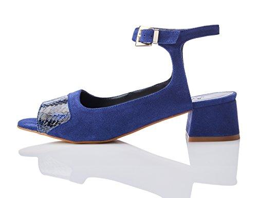 FIND Damen Sandalen mit Schlangenleder-Effekt Mehrfarbig (Blue)