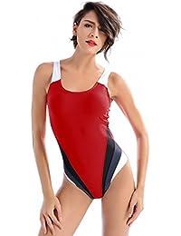 YARBAR Bañador de Mujer Bloque de color atlético ahueca hacia fuera bañador